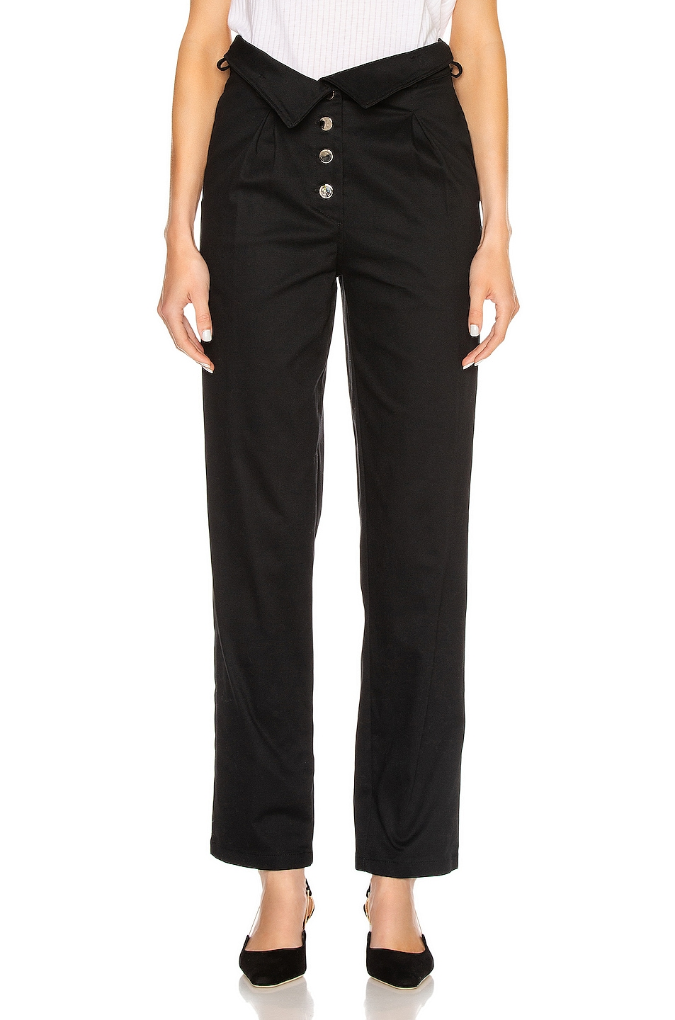 Image 2 of The Range Structured Twill Belted Paperbag Pants in Black