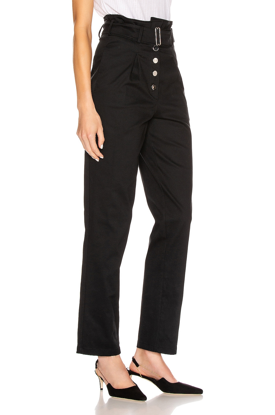 Image 3 of The Range Structured Twill Belted Paperbag Pants in Black