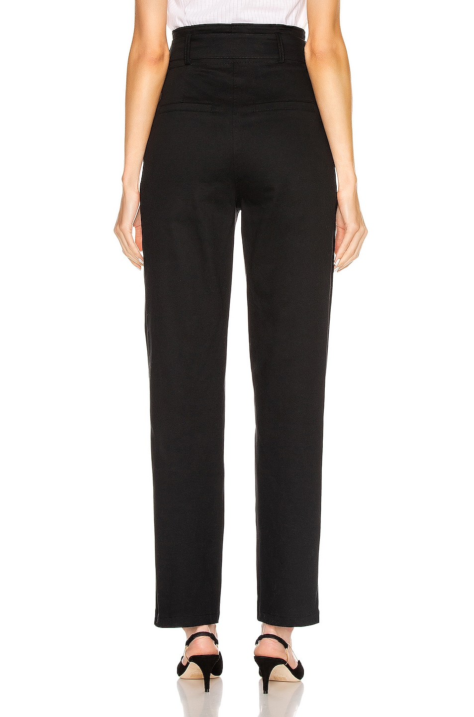 Image 4 of The Range Structured Twill Belted Paperbag Pants in Black