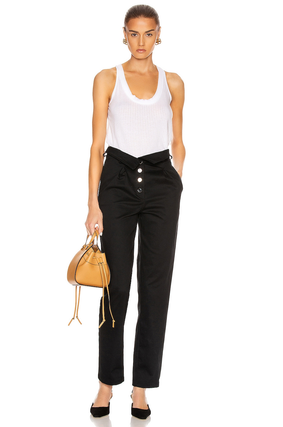 Image 5 of The Range Structured Twill Belted Paperbag Pants in Black