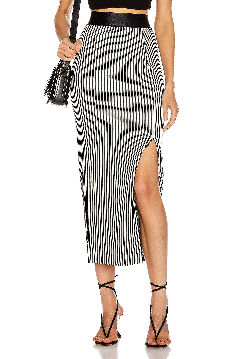 Image 1 of The Range Bound Striped Banded Skirt in White & Black