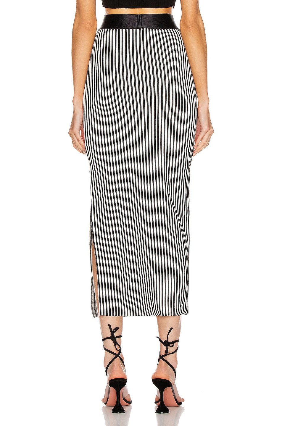 Image 3 of The Range Bound Striped Banded Skirt in White & Black