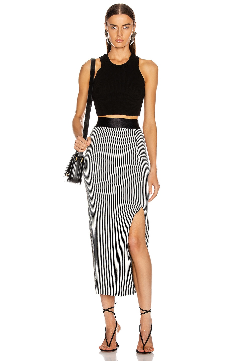 Image 4 of The Range Bound Striped Banded Skirt in White & Black