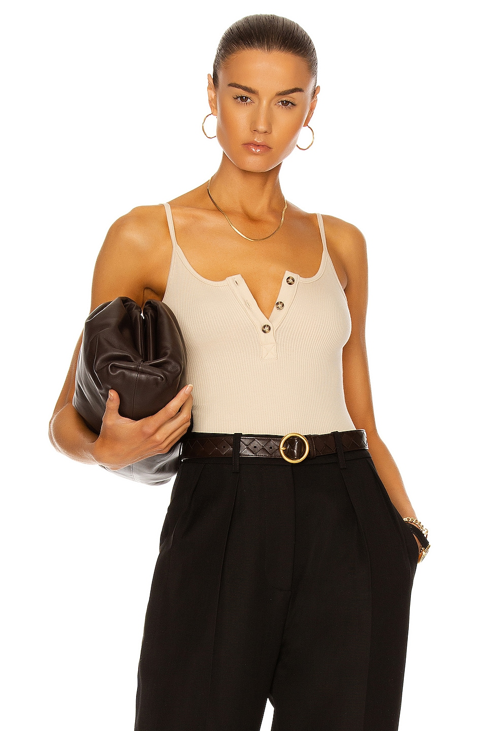 Image 1 of The Range Henley Bodysuit in Champagne