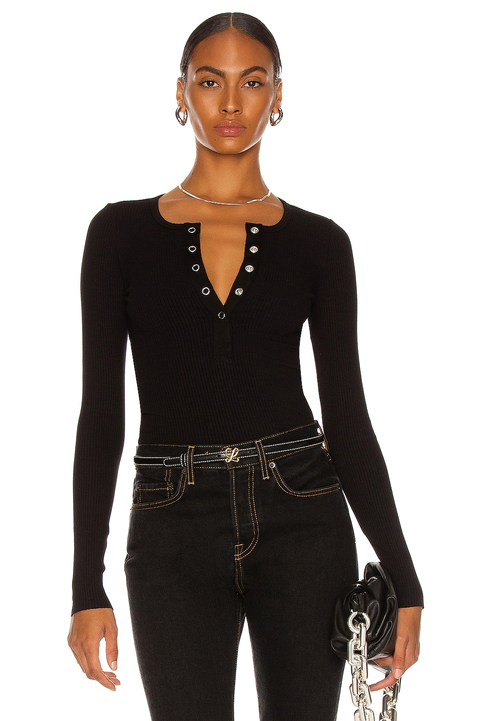 Image 1 of The Range Wide Placket Henley Top in Black