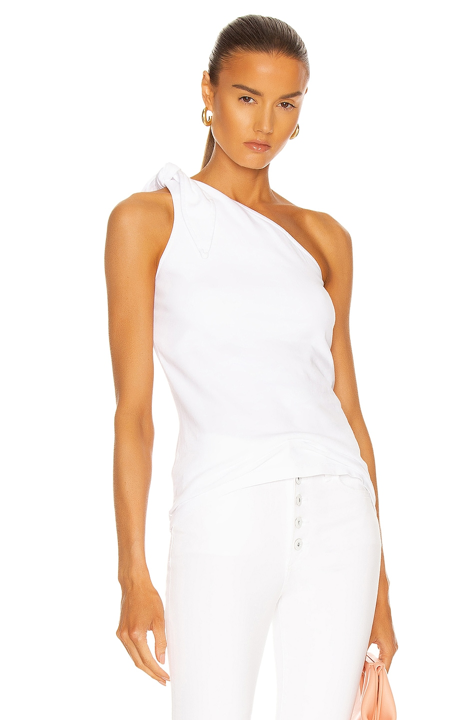 Image 1 of The Range Knot One Shoulder Tank in White