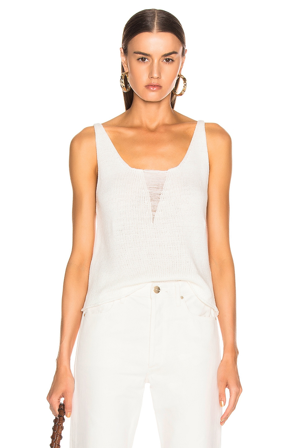 Image 1 of The Range Storm Deconstructed Knit Tank Top in White