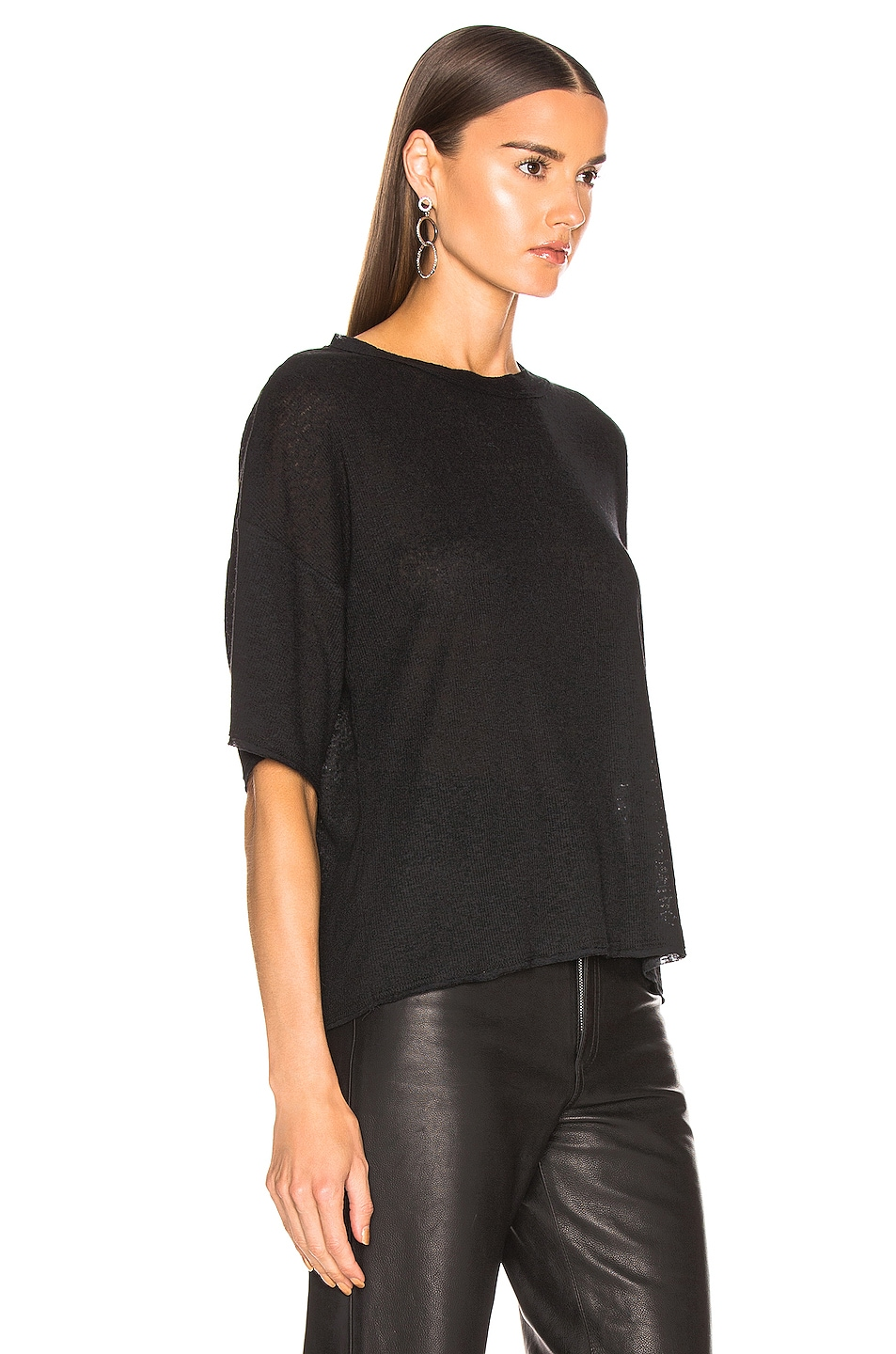 Image 2 of The Range Shadow Linen Rib Weekend Tee in Black