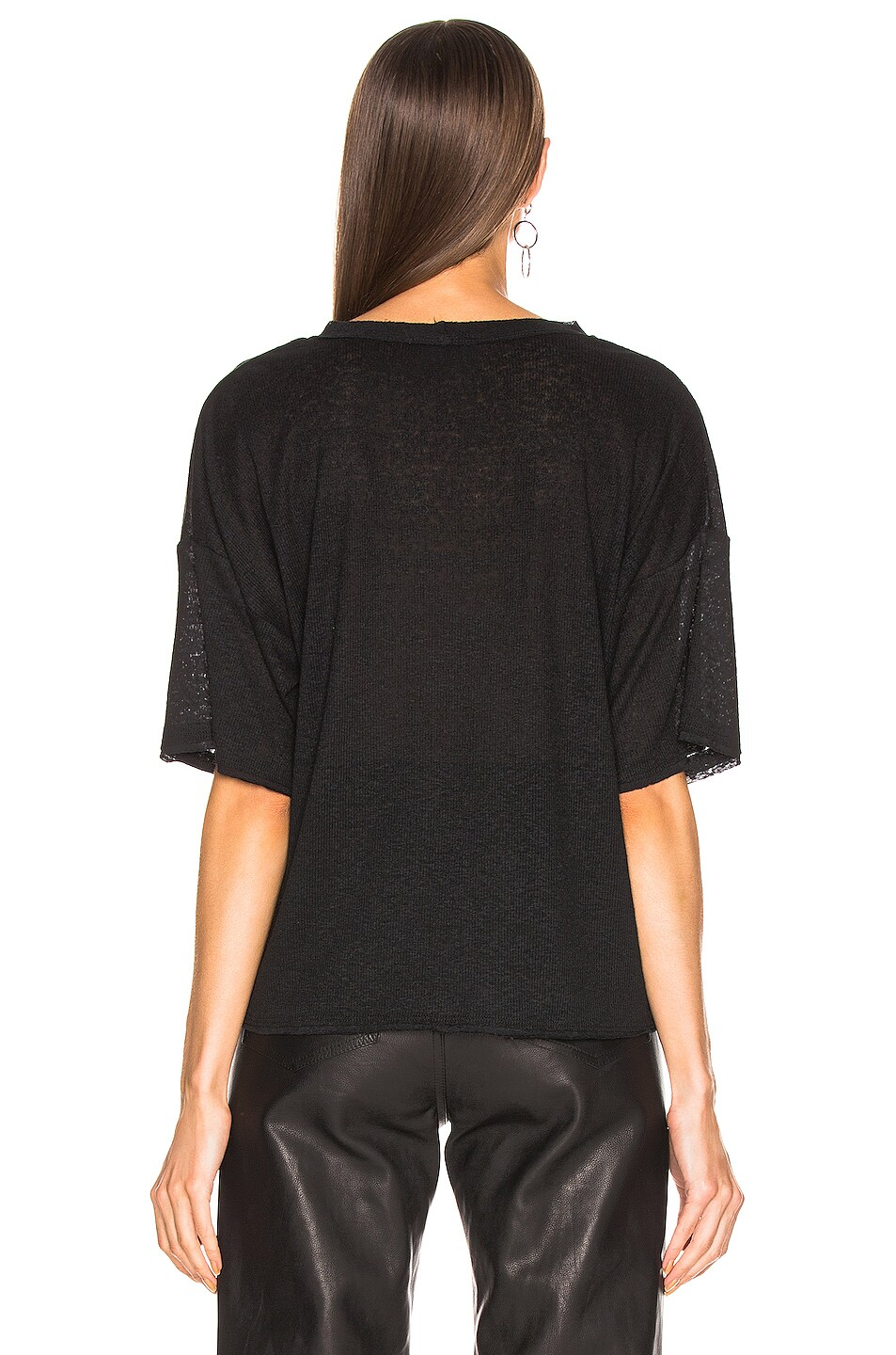 Image 3 of The Range Shadow Linen Rib Weekend Tee in Black
