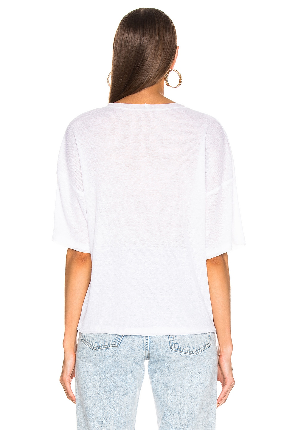 Image 3 of The Range Shadow Linen Rib Weekend Tee in White