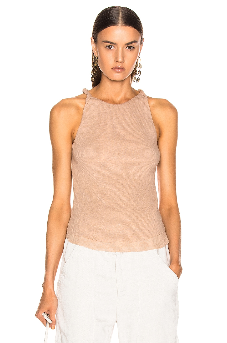 Image 1 of The Range Shadow Linen Rib Twist Tank Top in Sand