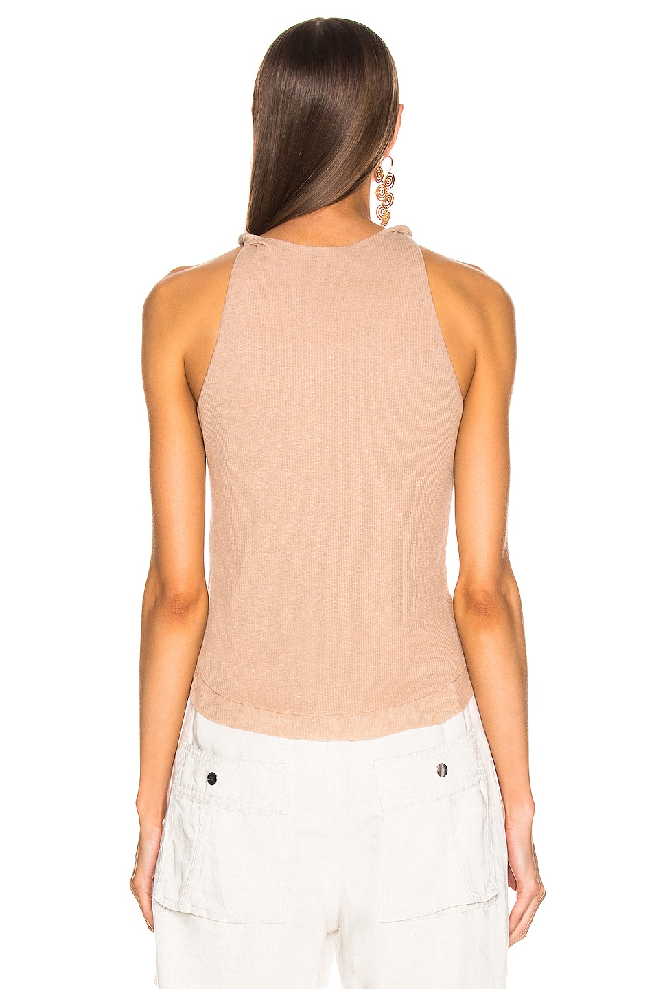 Image 3 of The Range Shadow Linen Rib Twist Tank Top in Sand