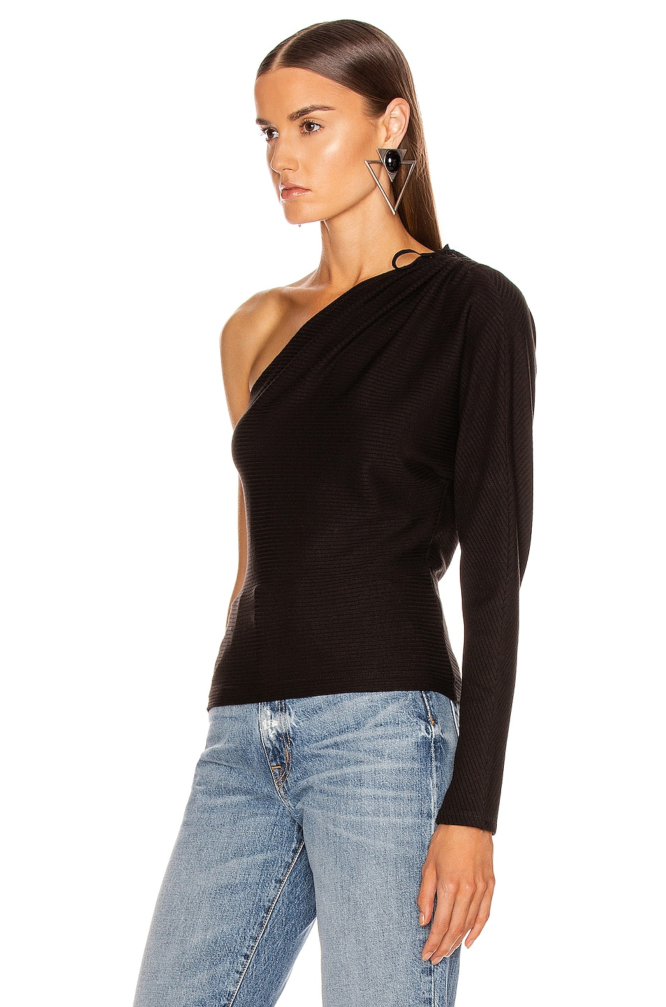 Image 3 of The Range Alloy Rib One Shoulder Top in Black