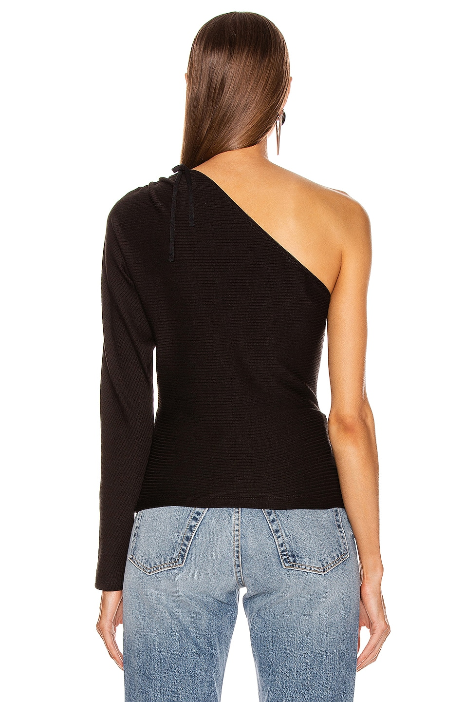 Image 4 of The Range Alloy Rib One Shoulder Top in Black