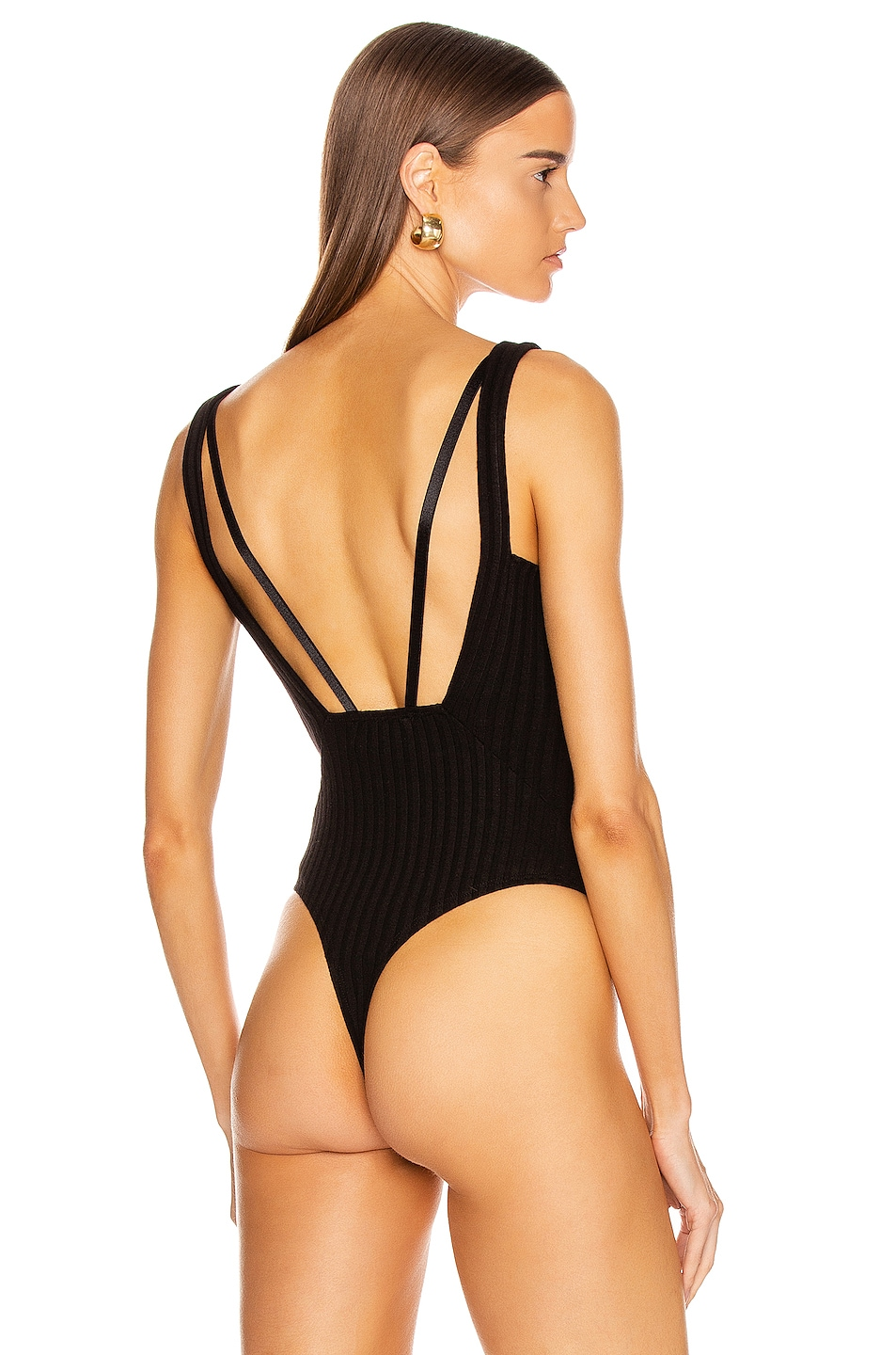 Image 4 of The Range Framed Rib Suspension Bodysuit in Black