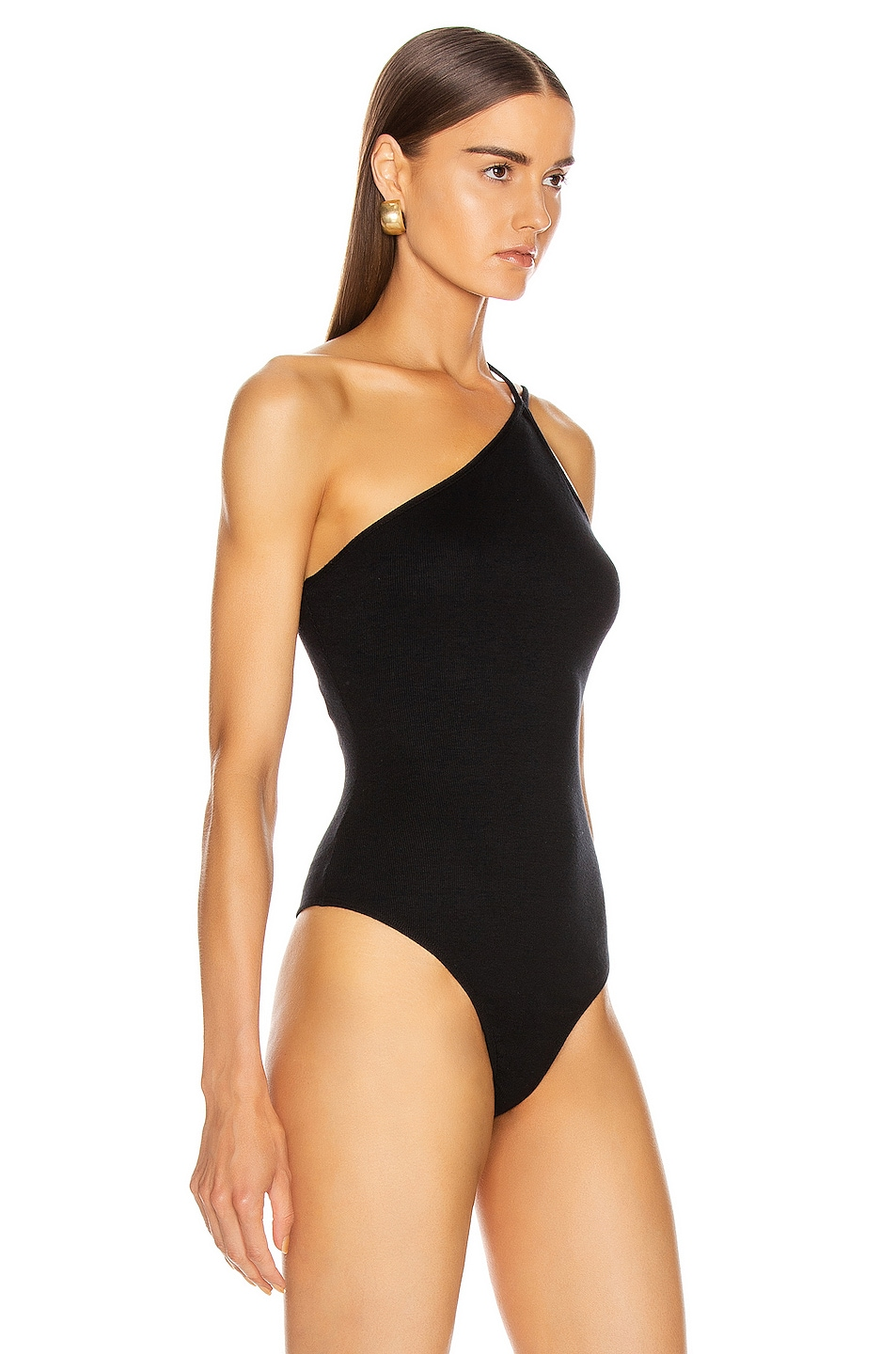 Image 3 of The Range Dynamic Rib Tilted Bodysuit in Black