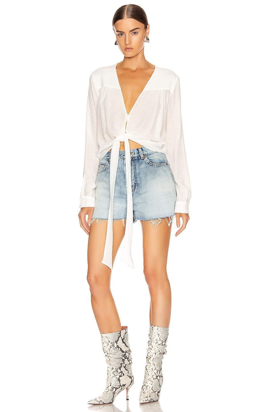 Image 1 of The Range Vapor Voile Tied Up Long Sleeve Top in Off White