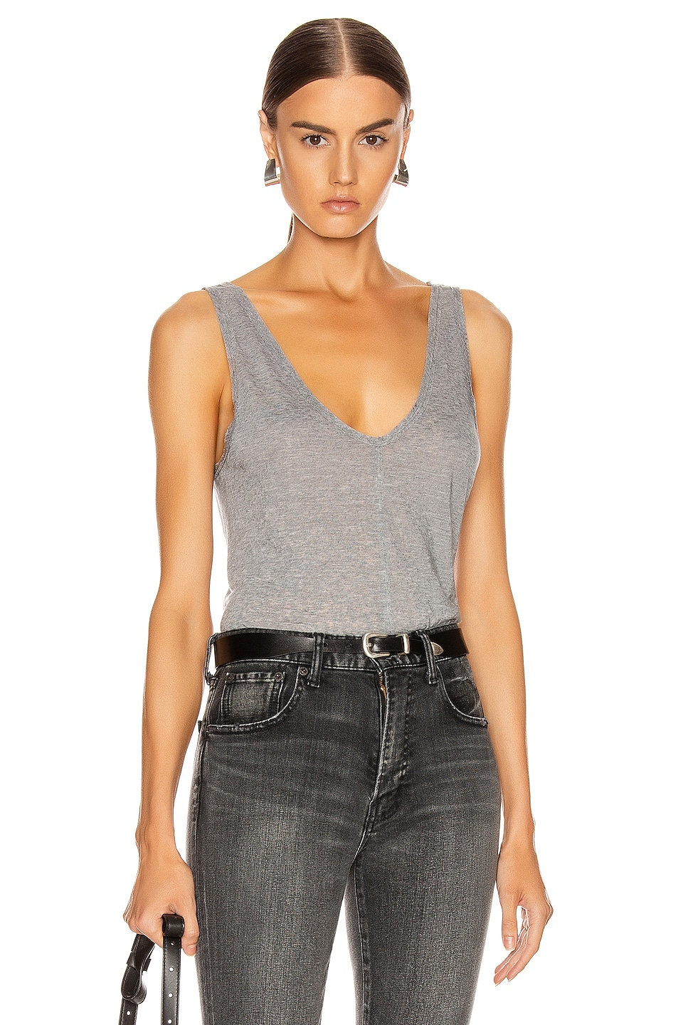 Image 1 of The Range Shadow Linen Jersey Seamed Tank in Smoke Heather