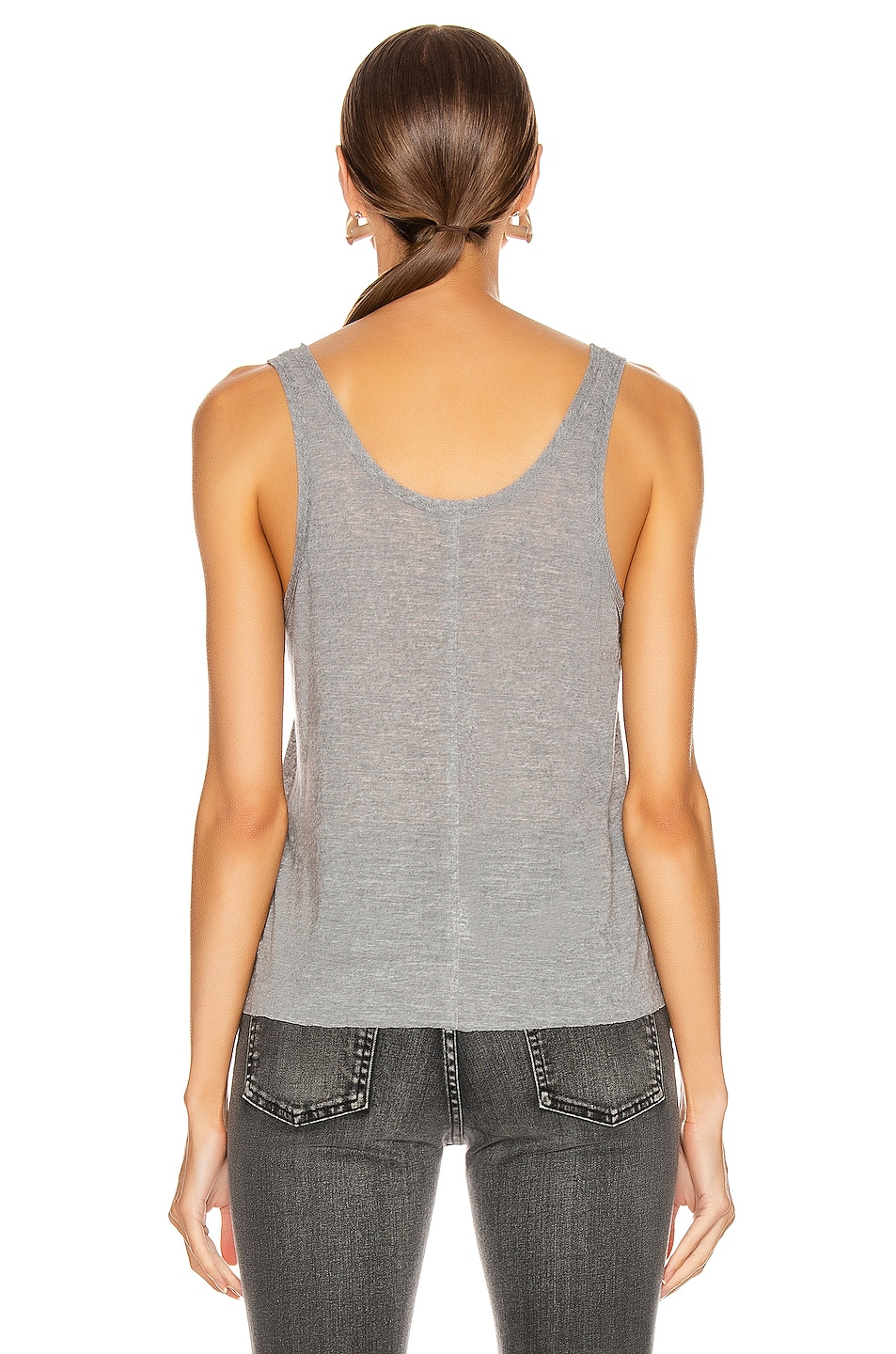 Image 3 of The Range Shadow Linen Jersey Seamed Tank in Smoke Heather