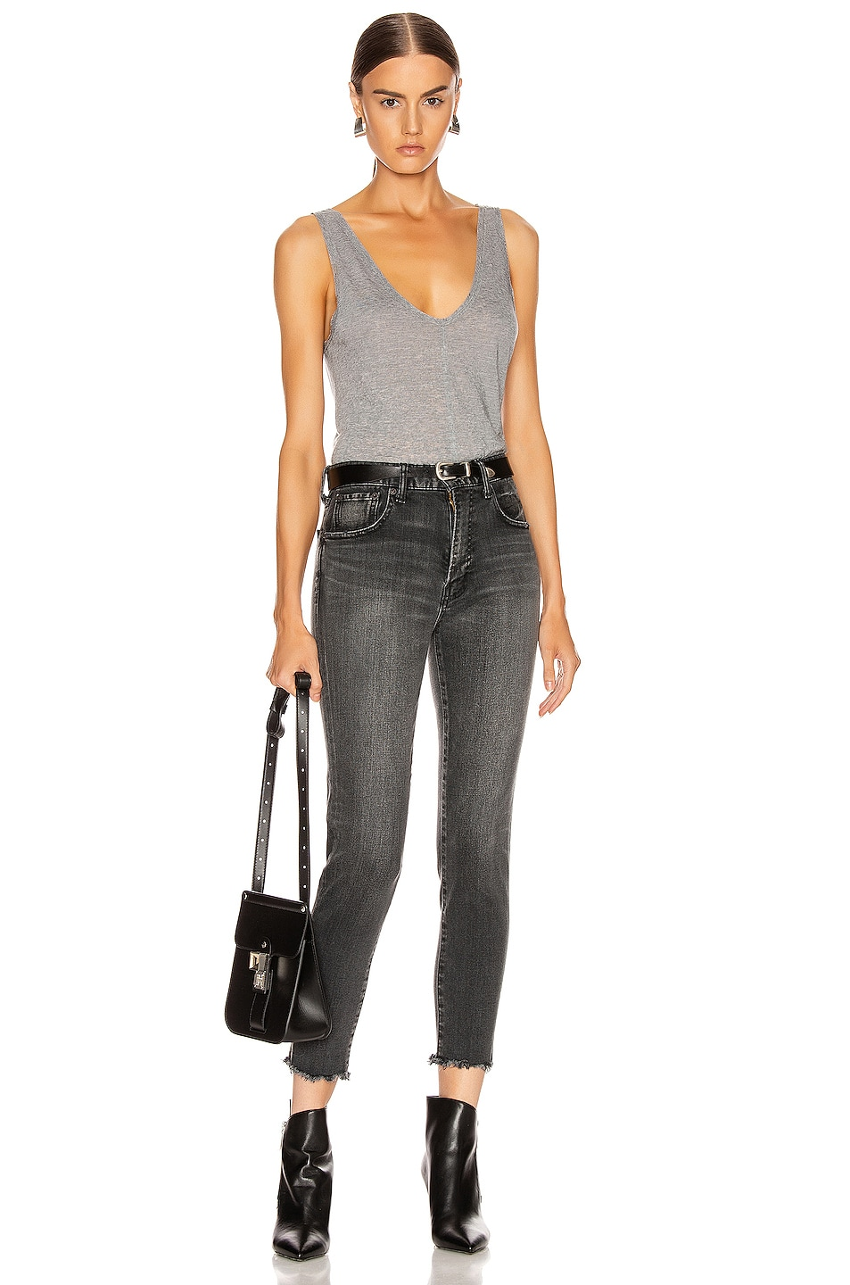 Image 4 of The Range Shadow Linen Jersey Seamed Tank in Smoke Heather