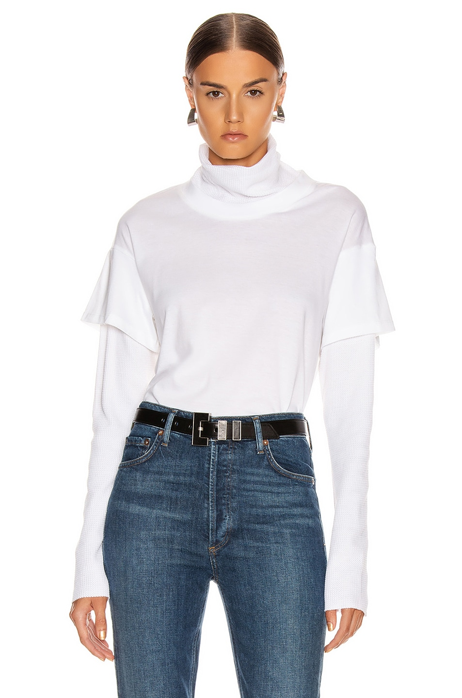 Image 1 of The Range Stark Jersey Layered Boy Tee Turtleneck in White