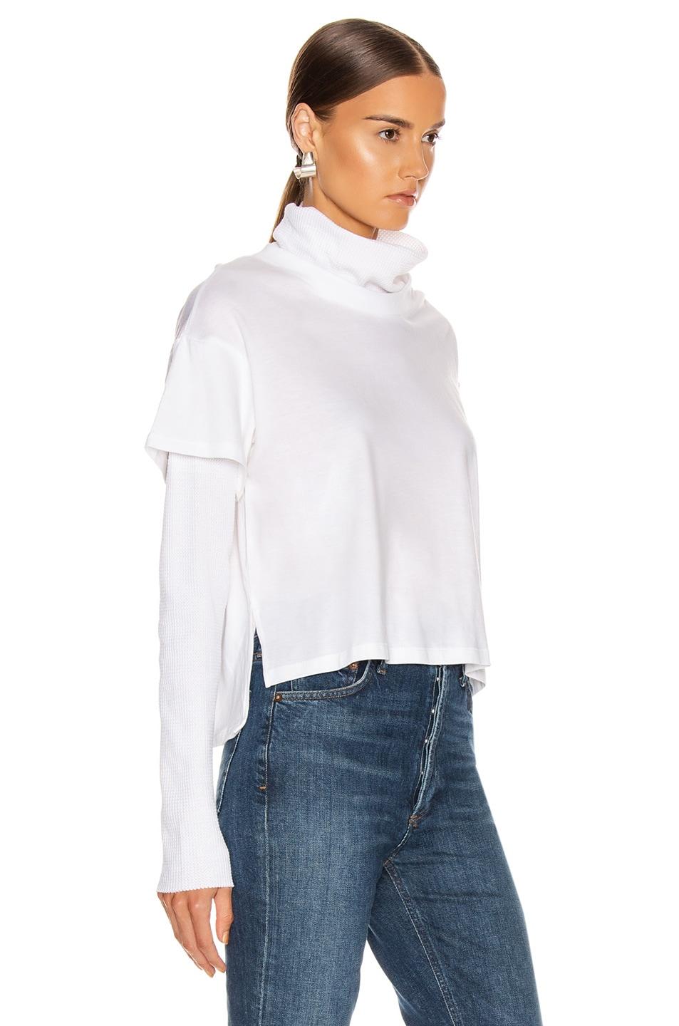 Image 2 of The Range Stark Jersey Layered Boy Tee Turtleneck in White