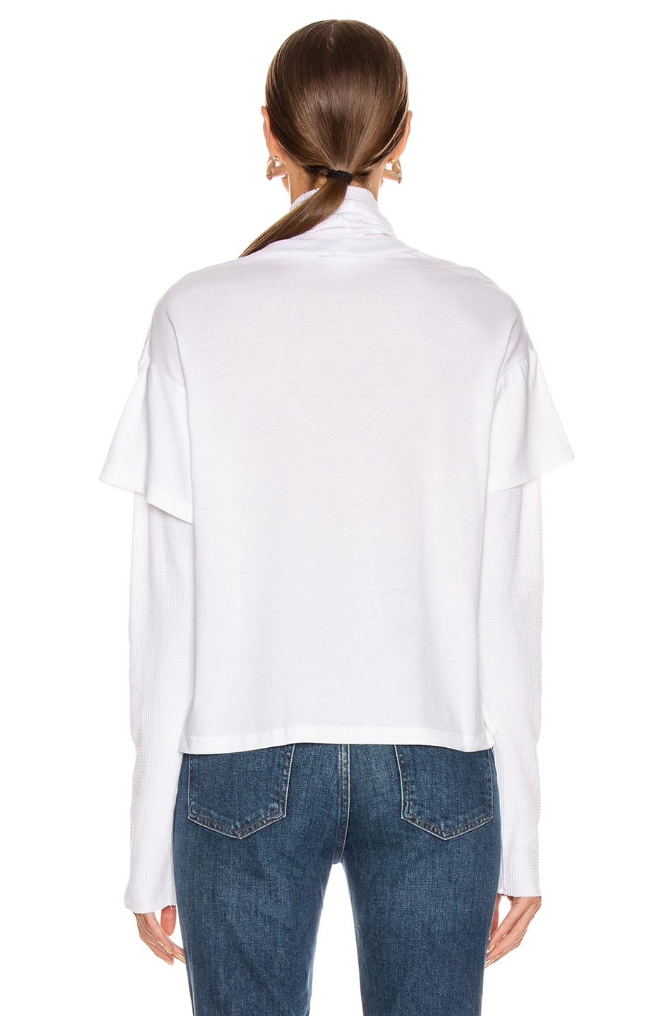 Image 3 of The Range Stark Jersey Layered Boy Tee Turtleneck in White