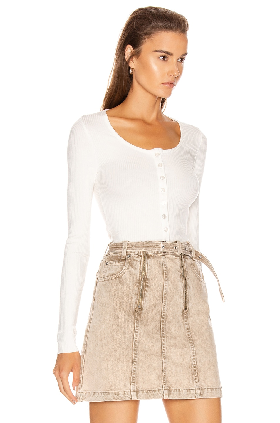 Image 2 of The Range Alloy Rib Cropped Button Down Top in White