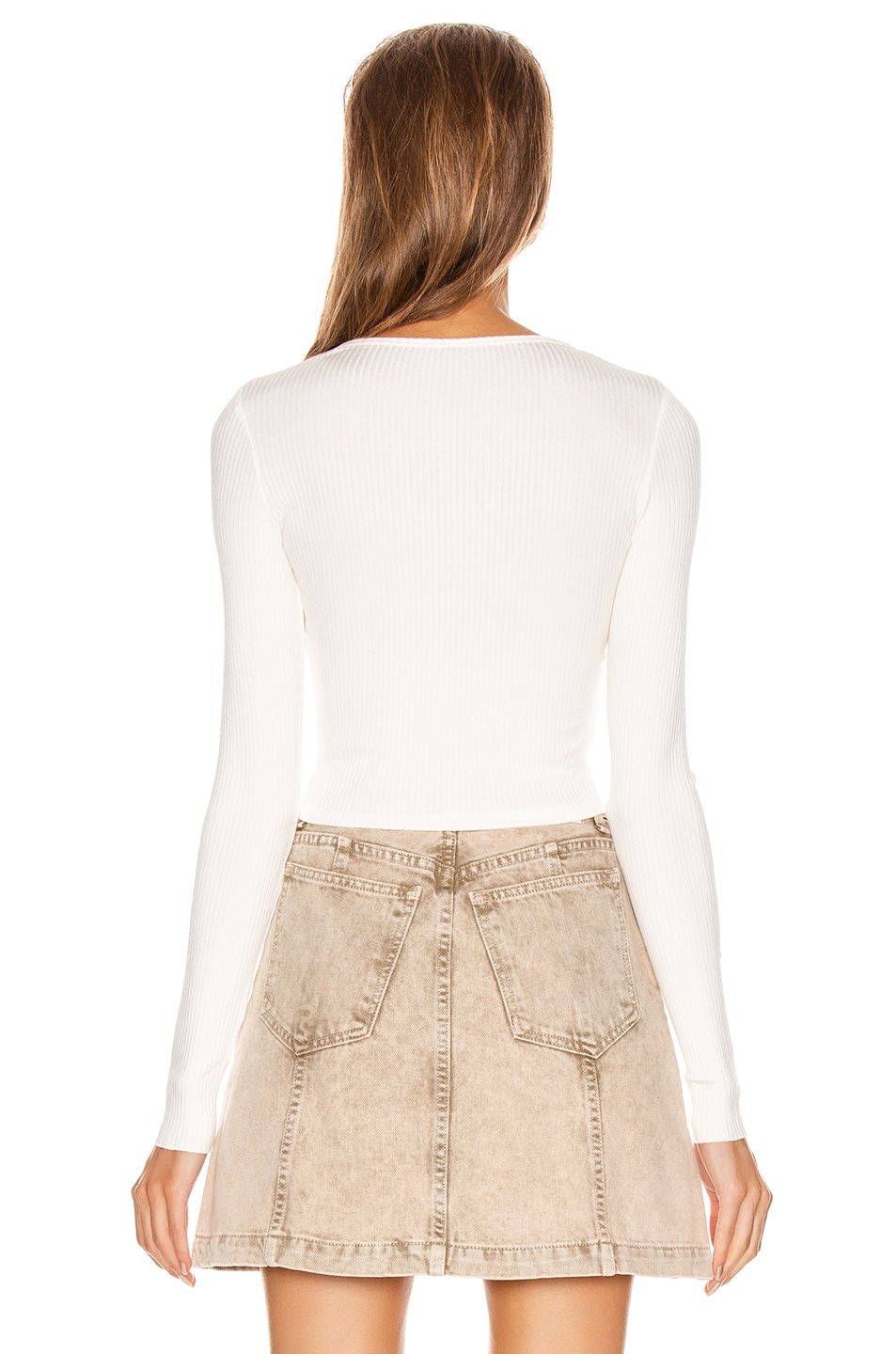 Image 3 of The Range Alloy Rib Cropped Button Down Top in White