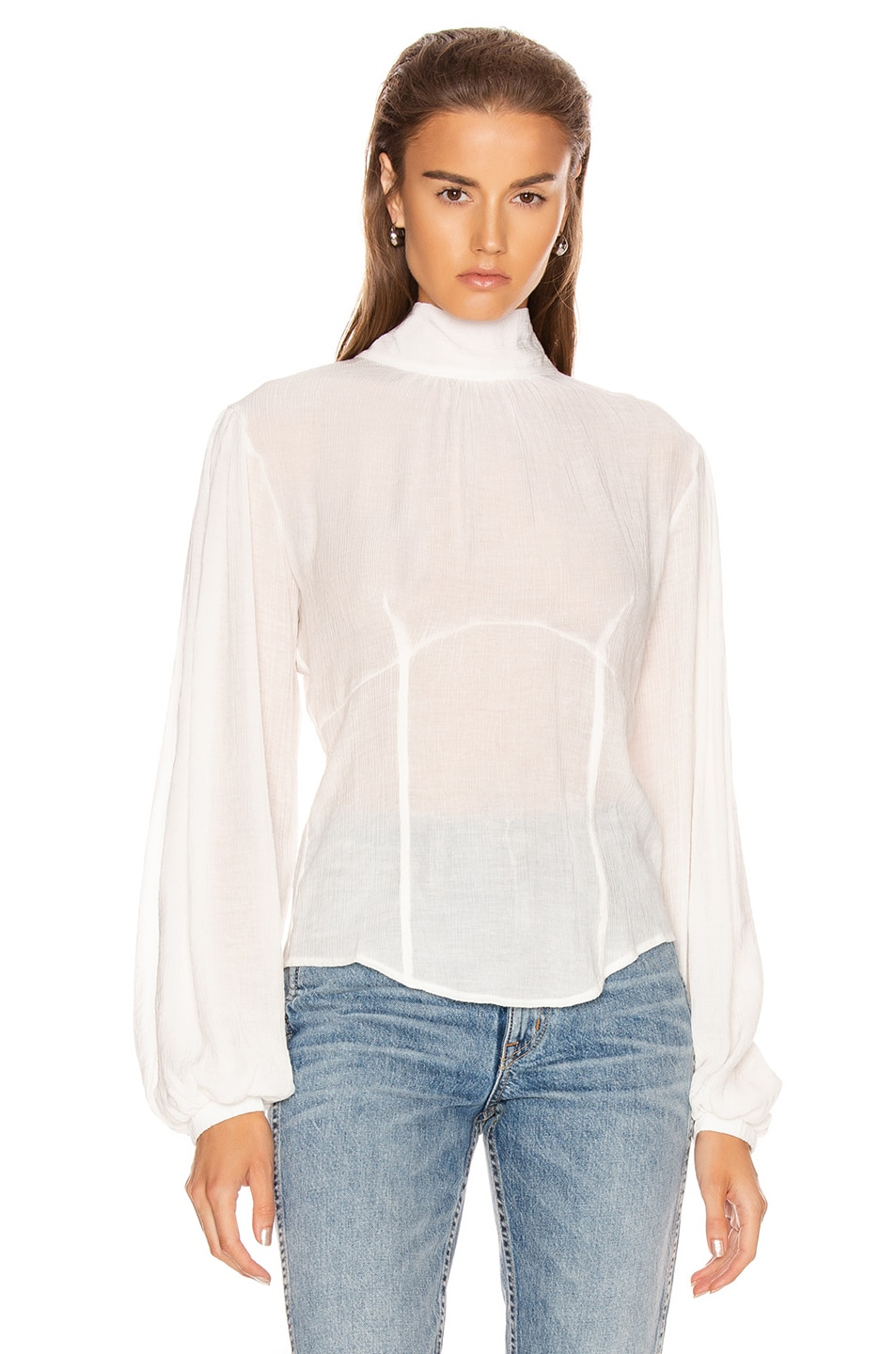 Image 2 of The Range Vapor Voile Corset Volume Sleeve Top in White
