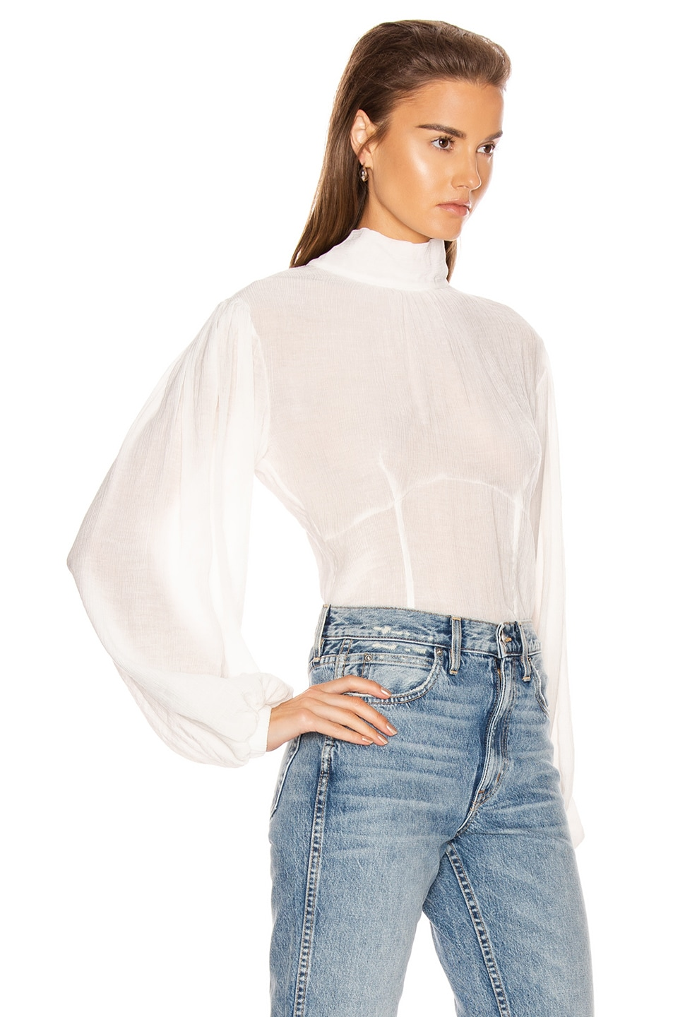 Image 3 of The Range Vapor Voile Corset Volume Sleeve Top in White