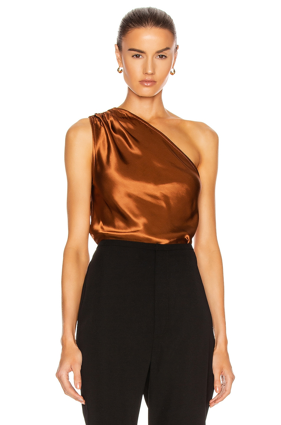 Image 2 of The Range Liquid Satin Convertible Scarf Neck Tank in Whiskey