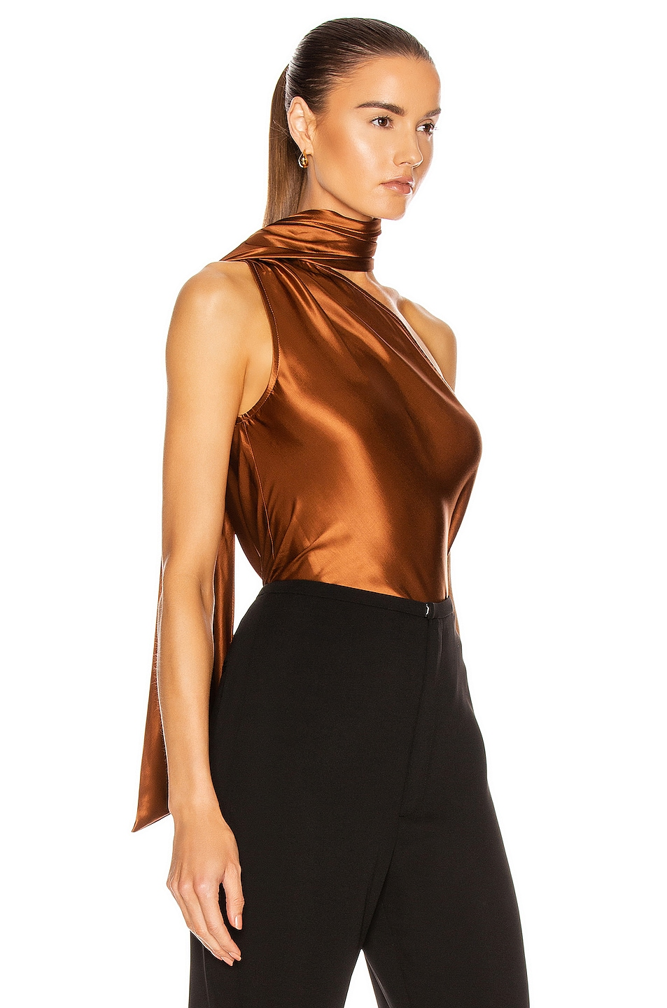 Image 3 of The Range Liquid Satin Convertible Scarf Neck Tank in Whiskey