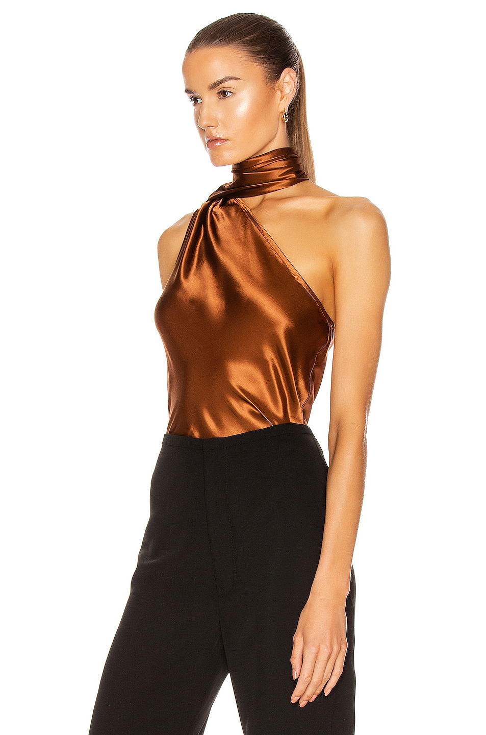 Image 4 of The Range Liquid Satin Convertible Scarf Neck Tank in Whiskey