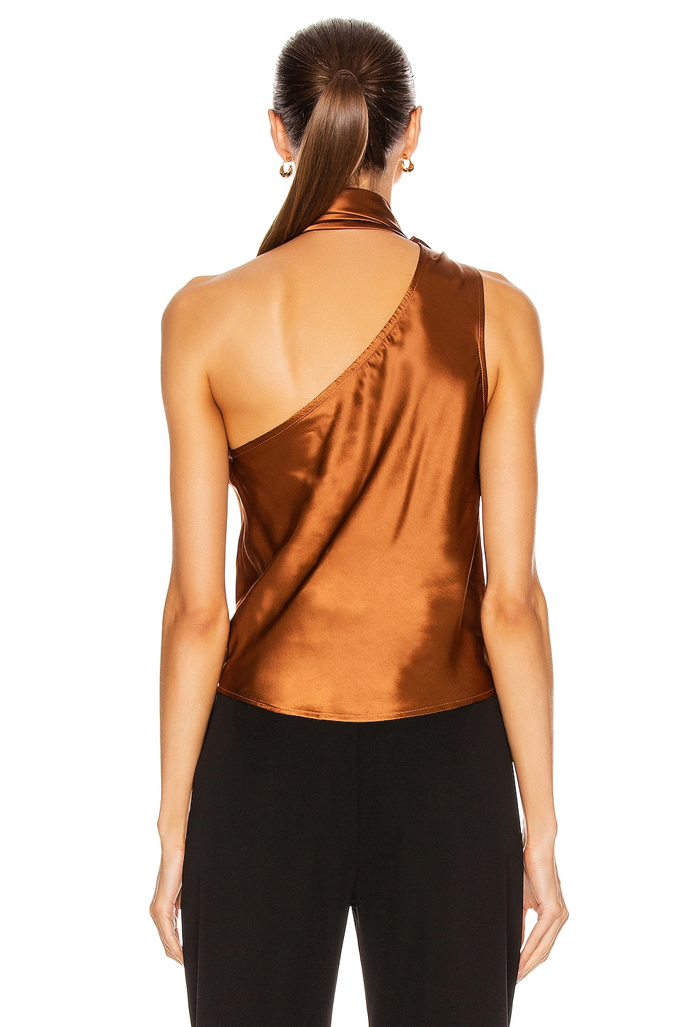 Image 5 of The Range Liquid Satin Convertible Scarf Neck Tank in Whiskey