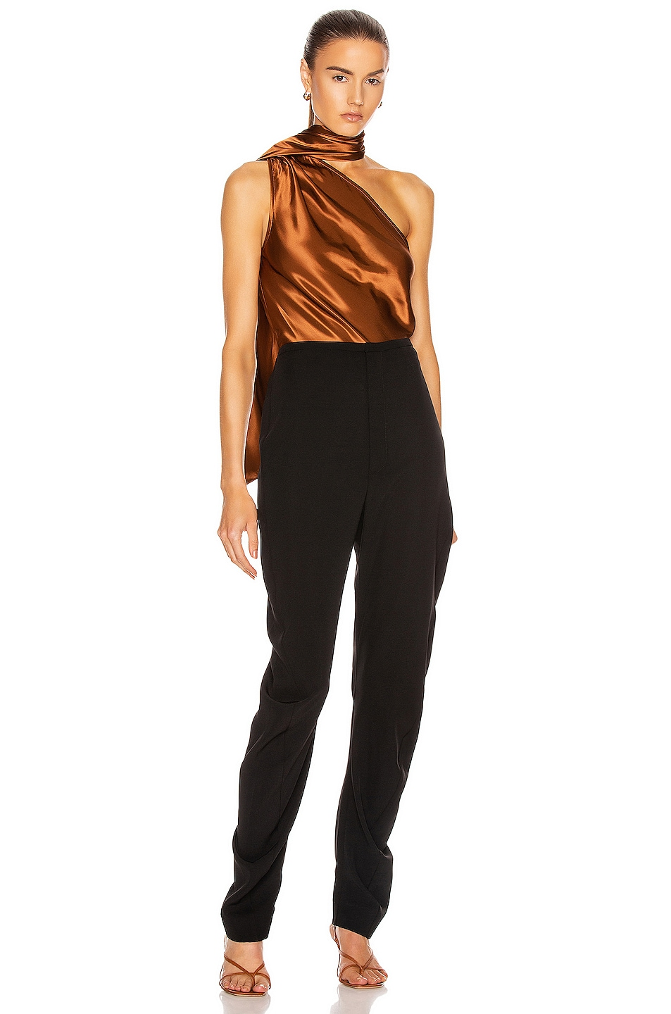 Image 6 of The Range Liquid Satin Convertible Scarf Neck Tank in Whiskey