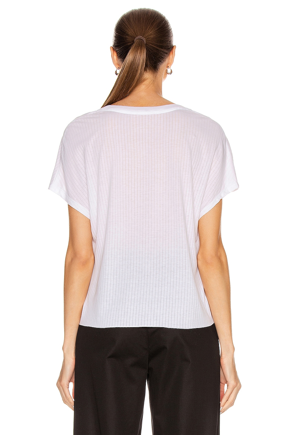 Image 3 of The Range Split Jersey Short Sleeve V Tee in White