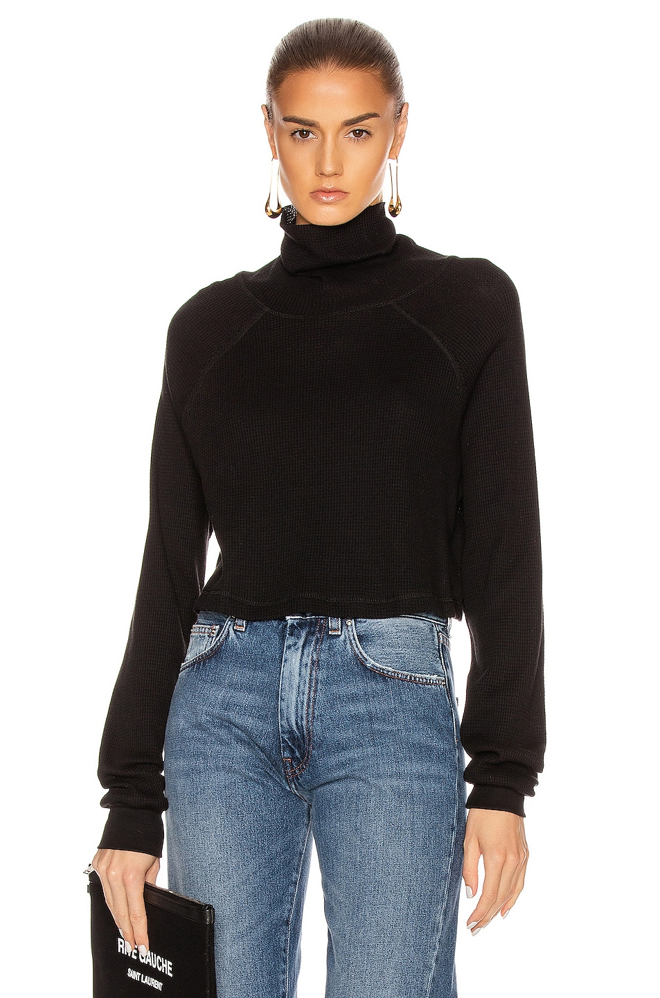 Image 1 of The Range Stark Waffle Knit Cropped Turtleneck in Jet Black