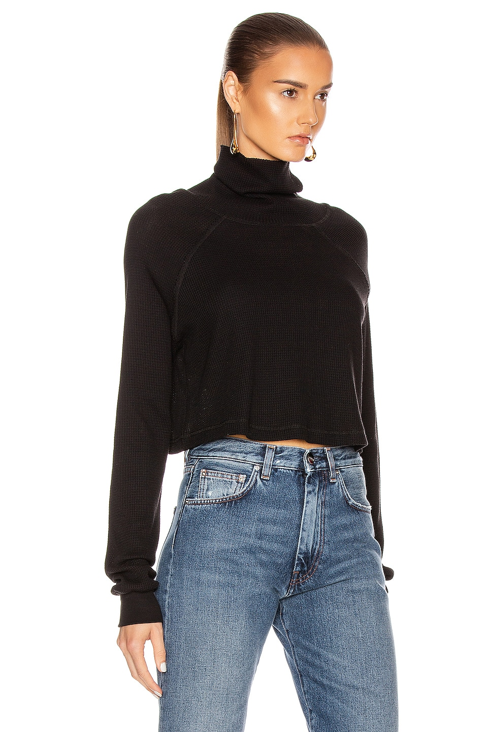 Image 2 of The Range Stark Waffle Knit Cropped Turtleneck in Jet Black