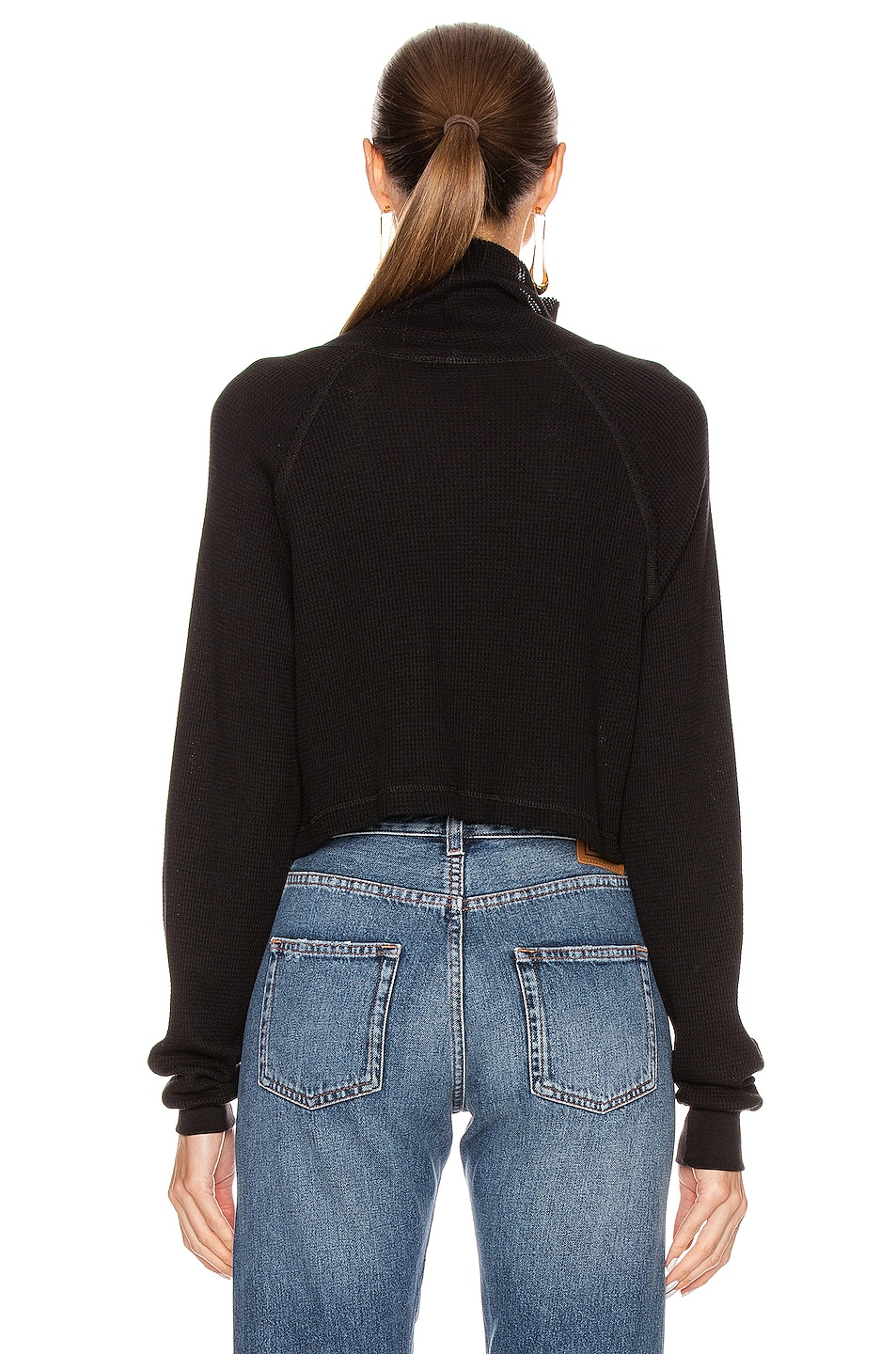 Image 3 of The Range Stark Waffle Knit Cropped Turtleneck in Jet Black
