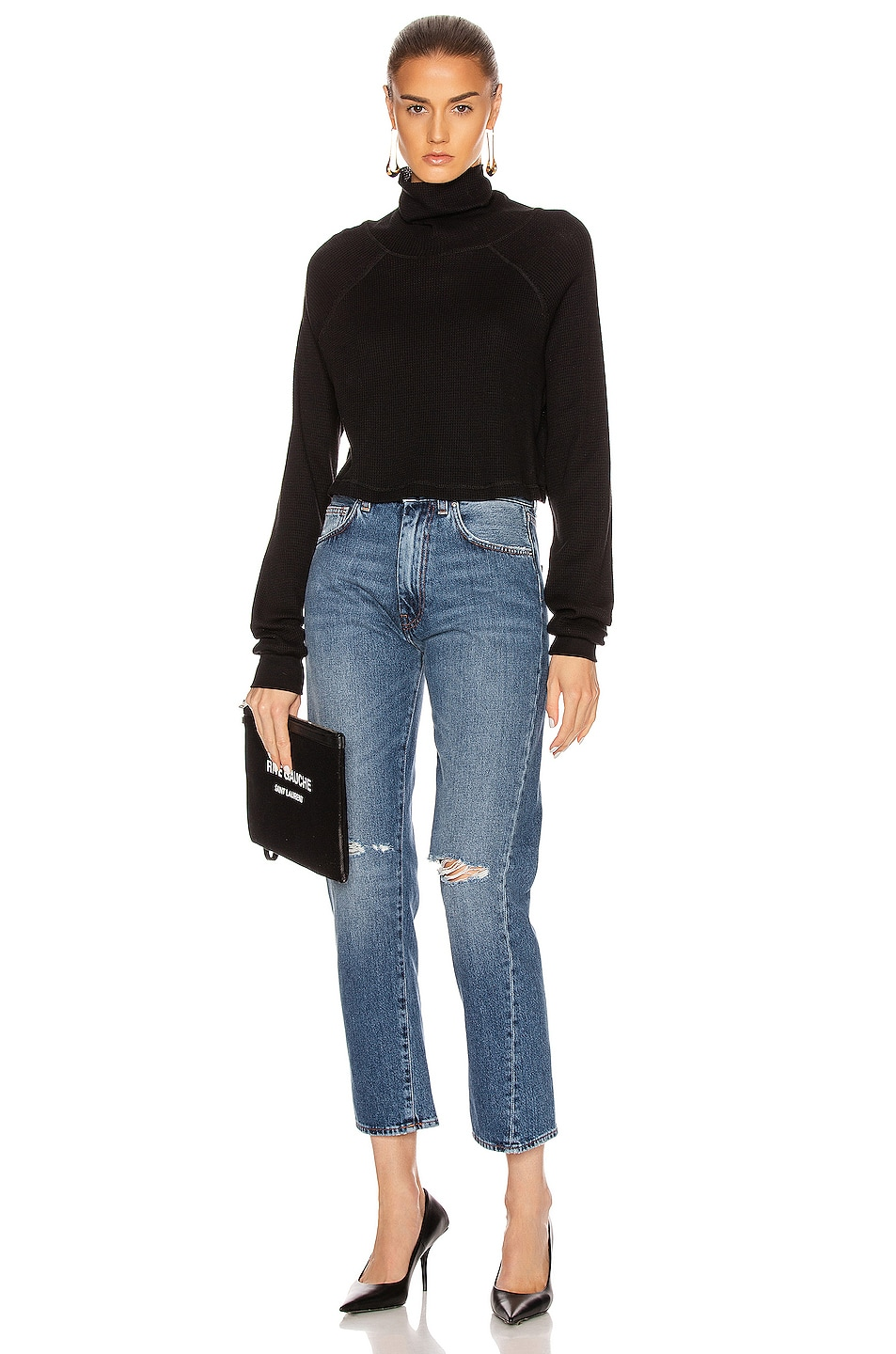 Image 4 of The Range Stark Waffle Knit Cropped Turtleneck in Jet Black