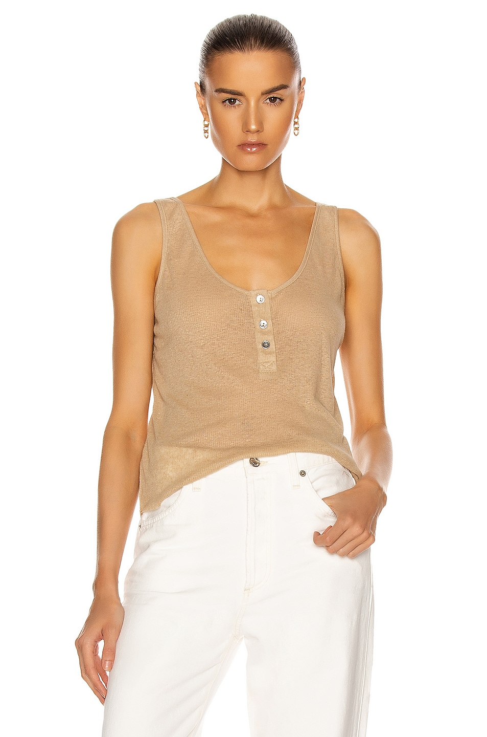 Image 1 of The Range Henley Linen Rib Tank in Beach