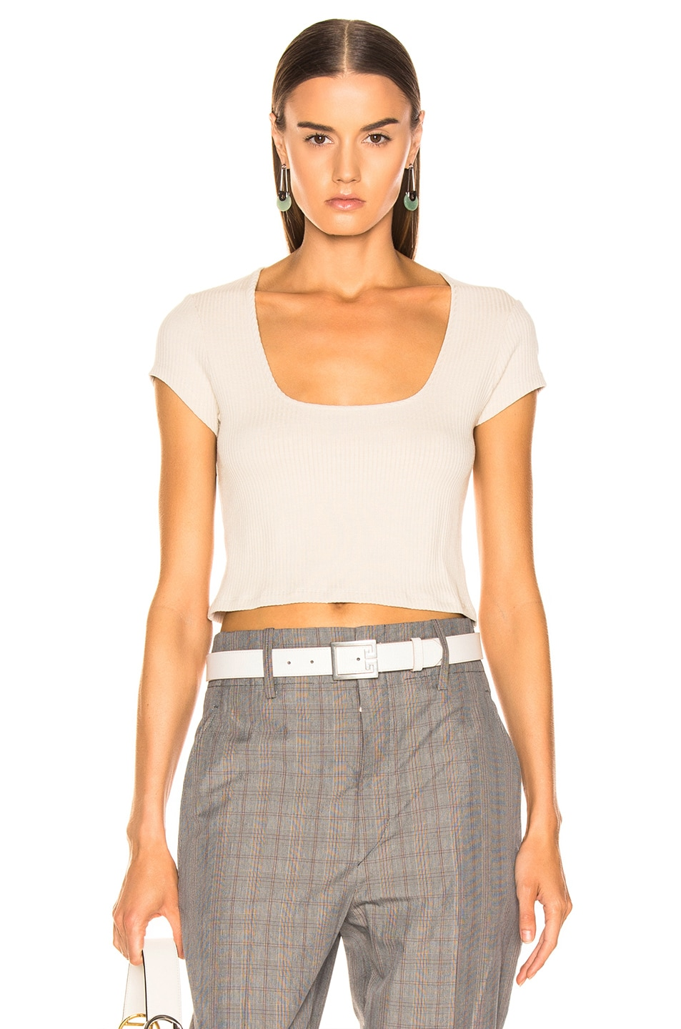 Image 1 of The Range Alloy Rib Cropped Tee in Limestone