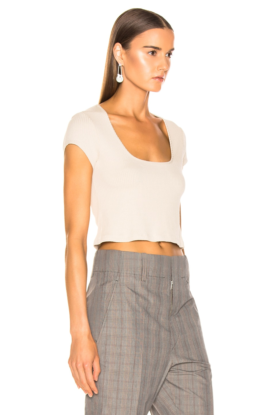 Image 2 of The Range Alloy Rib Cropped Tee in Limestone