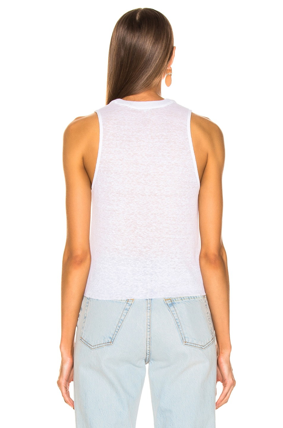 Image 3 of The Range Shadow Henley Tank in White
