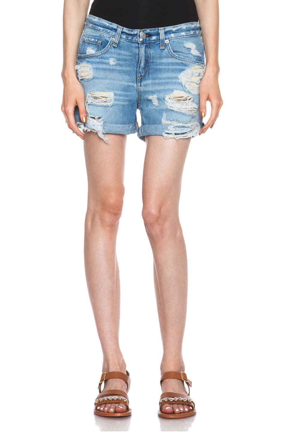 Image 1 of Rag & Bone Boyfriend Jean Shorts in Rebel