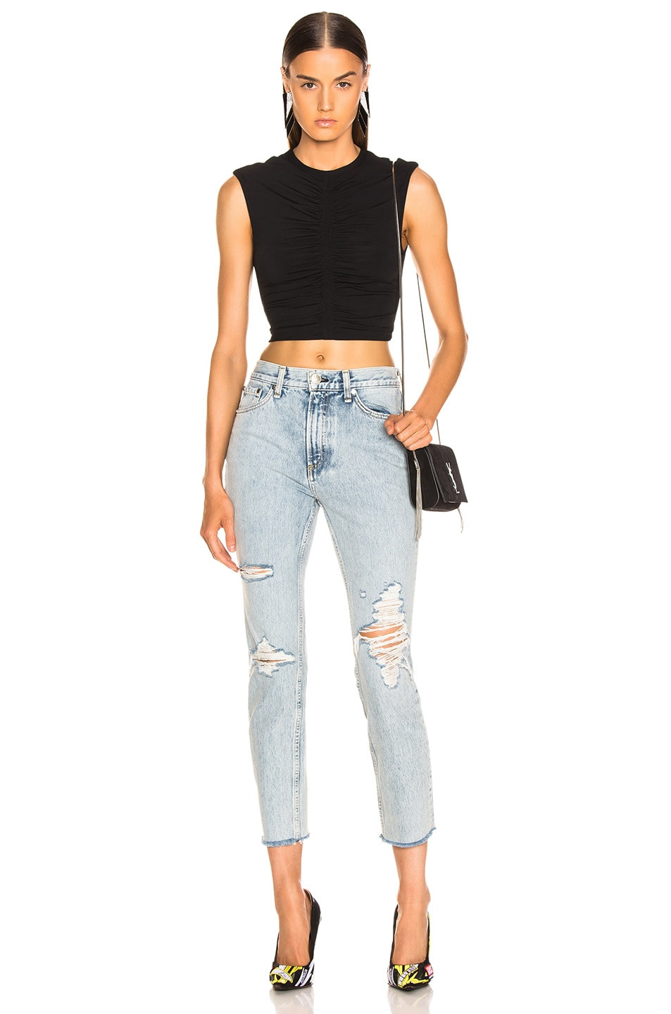 Image 4 of Rag & Bone High Rise Skinny in Madison with Holes