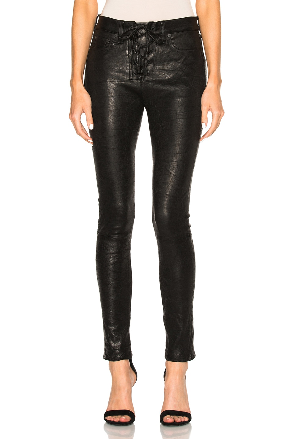 Image 1 of rag & bone/JEAN Lace Up Leather Pants in Washed Black
