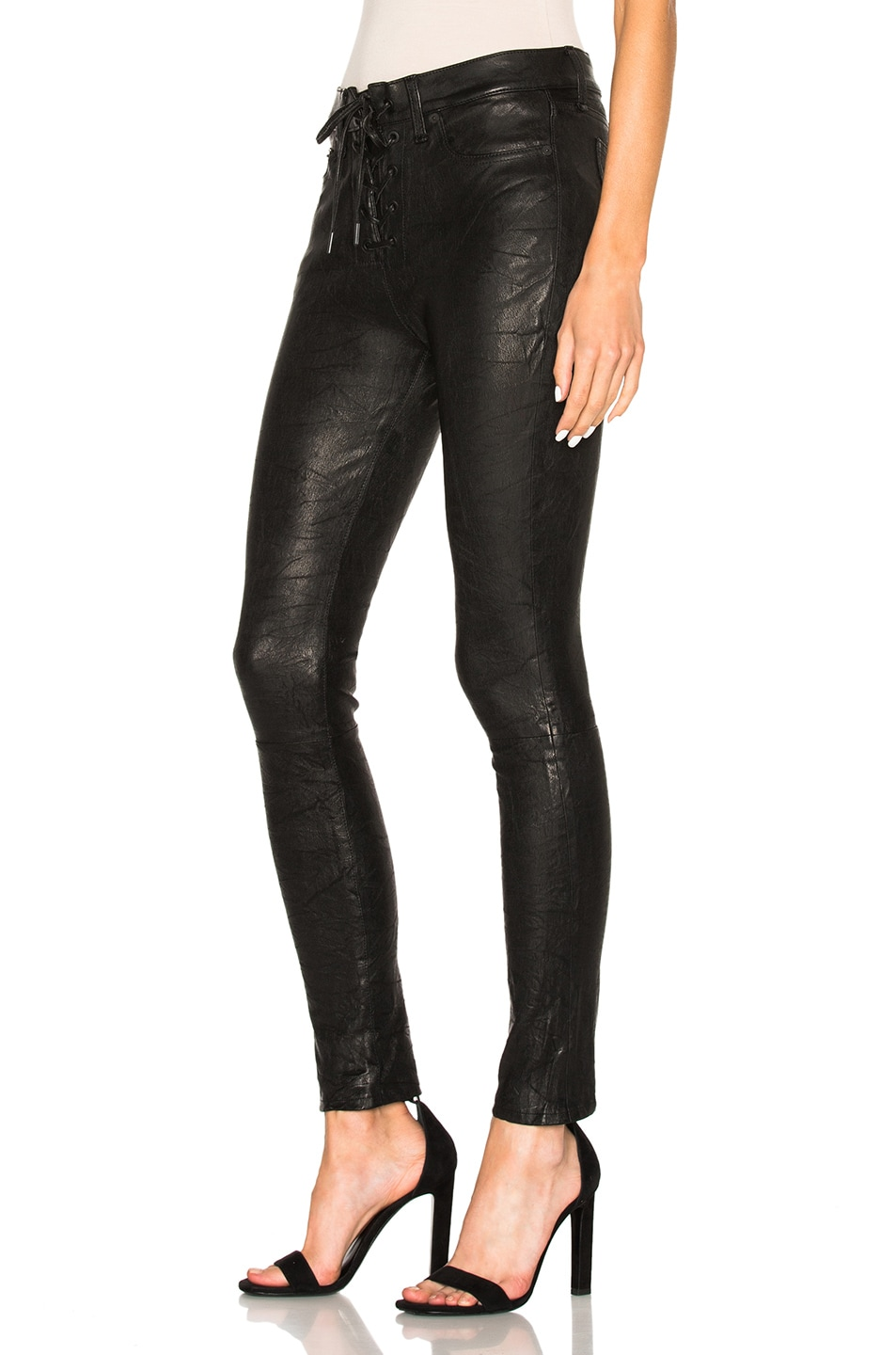 8b18ecff1cb2a Image 2 of rag & bone/JEAN Lace Up Leather Pants in Washed Black