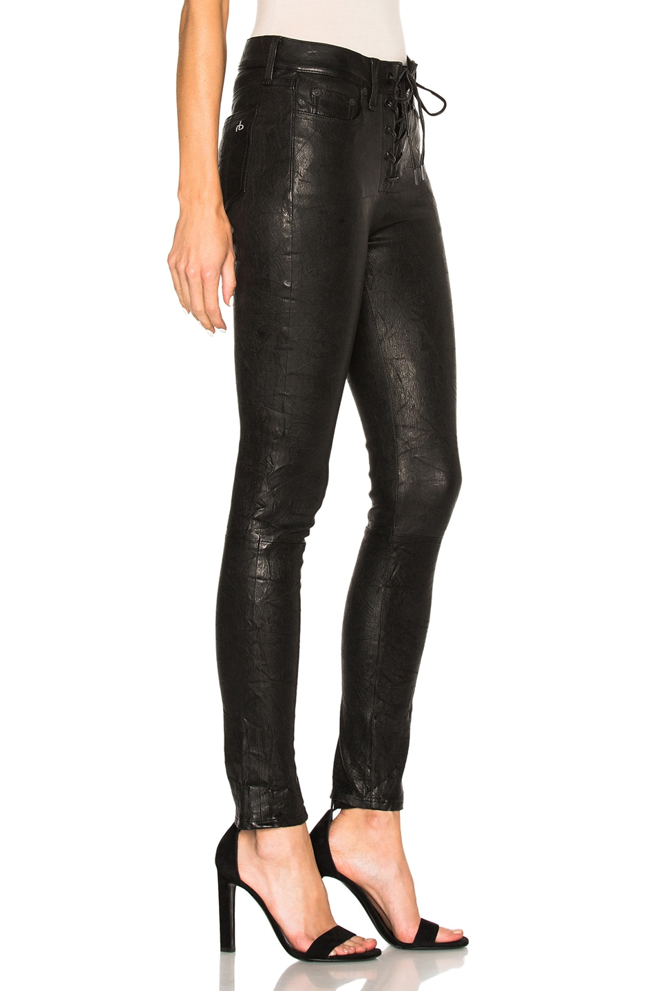 ead94d3934b3a Image 3 of rag & bone/JEAN Lace Up Leather Pants in Washed Black